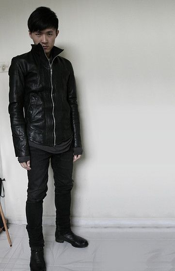 Zico Yam - Obscur Leather Jacket, Damir Doma Cashmere Top, Jeans, Boots - Panda 012