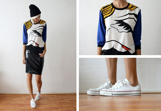 Sietske L - Storets Beanie, Choies Jumper, H&M Patent Skirt, Converse Leather All Stars - The break up