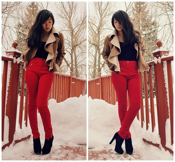 Cindy H - Ryu Shearling Jacket, Silence + Noise High Waisted Pants - Snow Day