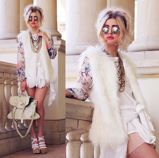 Bebe Zeva - Love Floral Puffs Blouse, Boohoo Faux Fur Vest, Sugarlips Venetian Concierto Blouse, Nine West Espadrille Wedges, 80s Purple Reflective Lennon Sunglasses - J'AWWDORE