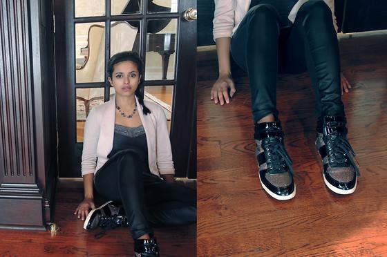 M.Dee - Aldo Patent High Tops, Delia's Pink Blazer/Cardigan, Rebellious One Front Panel Matte Leggings - A Concert Look